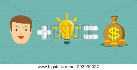Money and ideas make you happy and rich. Man plus brain equal money. Stock flat vector illustration.
