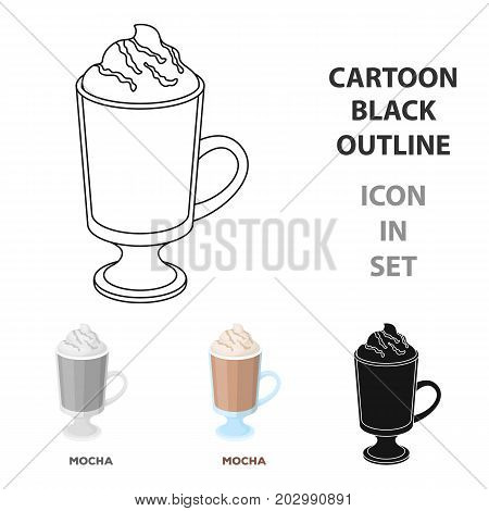 A cup of mocha with foam.Different types of coffee single icon in cartoon style vector symbol stock illustration .