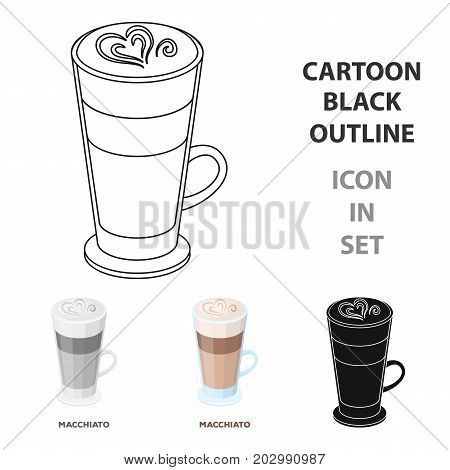 Cup of coffee macchiato with foam. Different types of coffee single icon in cartoon style vector symbol stock illustration .