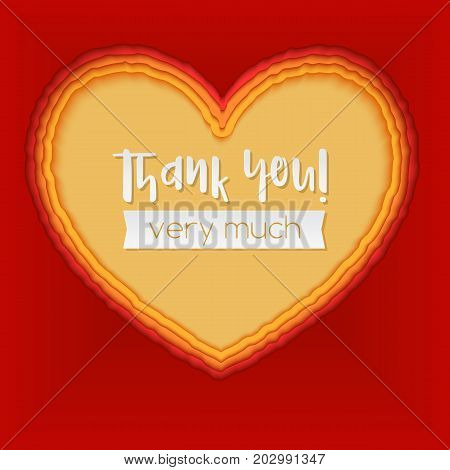 Layered paper art. Paper cut heart shapes. 3D illustration, abstract red background. Thank you greeting, postcard for romance and love. Modern origami design template.