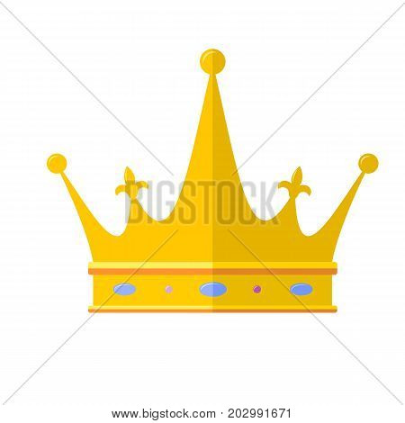 Royal crown flat icon, isolated on white background. Outline icon of royal crown. Symbols of power, vector pictogram. Golden symbol of simple color.