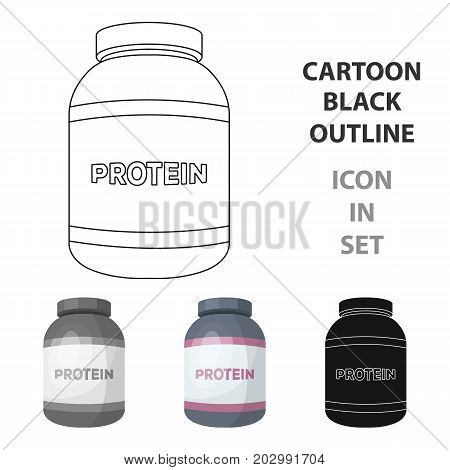 The Bank labeled protein. Sports supplements in nutrition for muscle growth.Gym And Workout single icon in cartoon style vector symbol stock web illustration.