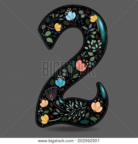Number Two with Floral Decor. Black glared numeral. Colorful graceful flowers plants and blurs with watercolor effect. Gray background. Illustration