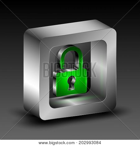 The vector 3d illustration with isometric padlock symbol