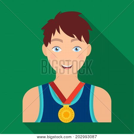 Athlete awarded a gold medal. Sport and reward single icon in flat style vector symbol stock illustration .