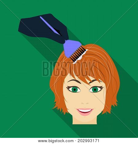 Staining of female hair in a hairdresser. Hair dyeing single icon in flat style vector symbol stock illustration .