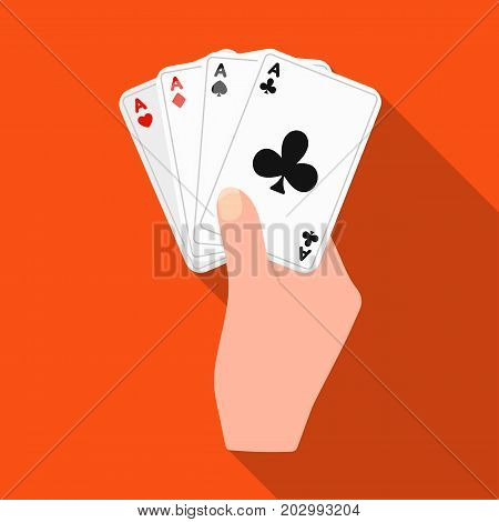 Combination of cards in hand. Playing cards single icon in flat style vector symbol stock illustration .