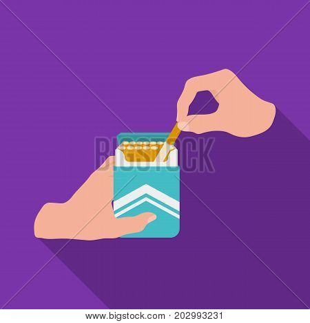 Extraction of the cigarette from the pack. A pack of cigarettes single icon in flat style vector symbol stock illustration .