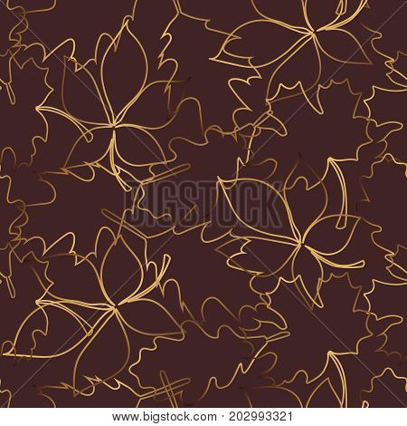 Seamless pattern with gold leaf, autumn leaves background.