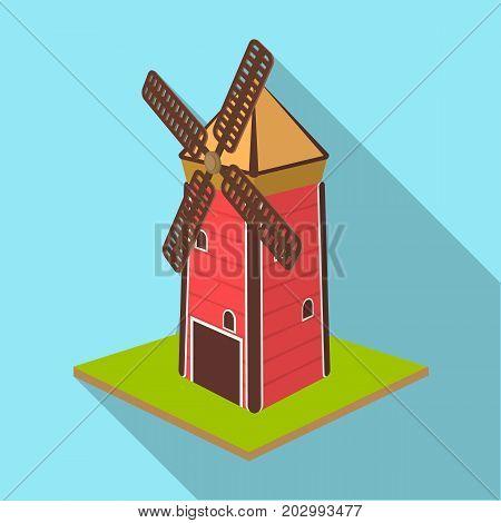 Windmill, single icon in flat style.Windmill vector symbol stock illustration .