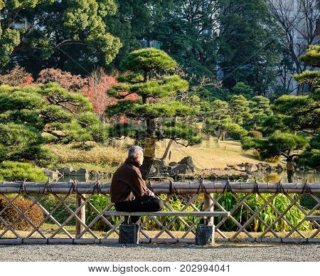 An Old Man Sitting At The Park In Tokyo, Japan
