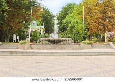 Fountain With Summerhouse In Park, City Frantiskovy Lazne