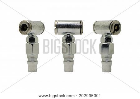 Dual Head Air Chuck Old chrome inflator dual head tools used for measure and fill air pressure tire of car with a many view tools isolated on white background. Automotive tools concept.