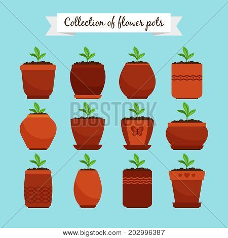 Flowerpots with soil and sprouts isolated on blue background. Ceramic decorative flower pots and potting growing plants, vector illustration