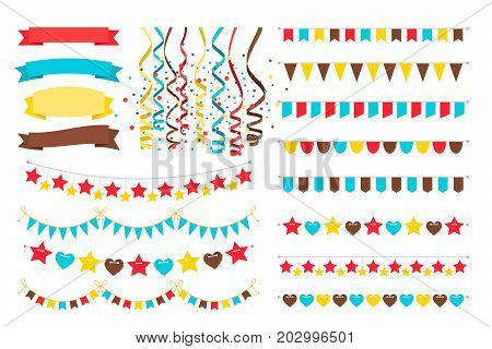 Multicolor vector garlands, adornment flags on strings and bright pennant for invitation card design and carnival banners isolated on white background