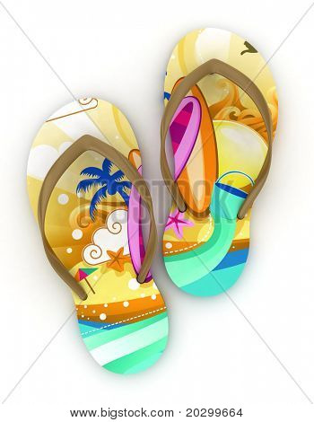 3D Illustration of Colorful Flip-flops