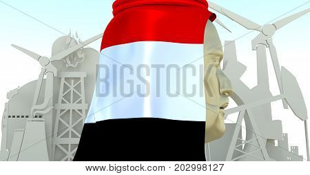 Arab business man in traditional cloth textured by flag of Yemen. Industrial isometric icons set. 3D rendering. Energy generation and heavy industry.
