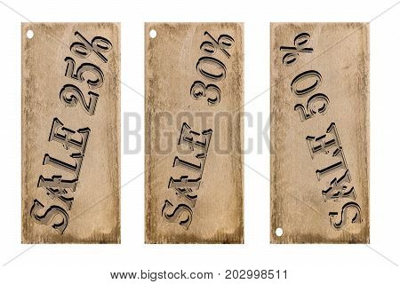 Tablet wooden  sellout discount on white background