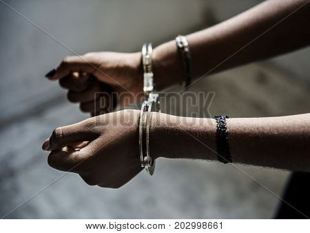 Prisoner hands arrested with handcuff