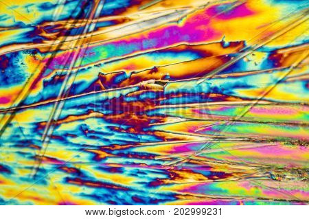 microscopic shot of Sodium carbonate microcrystals in polarized light