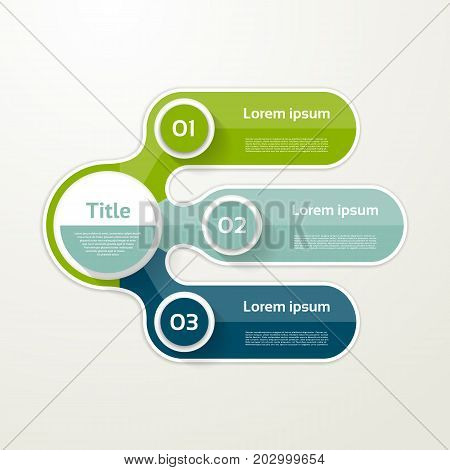 Three elements banner. 3 steps design chart infographic step by step number option layout.