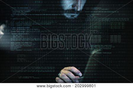 Hacker man working on computer