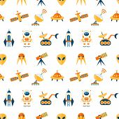 Cute seamless cosmic pattern for kids. Cosmos discovery and exploration theme. Outer space childish background. Flat style, vector illustration. poster