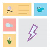 Flat Icon Natural Set Of Gull, Lightning, Overcast And Other Vector Objects poster