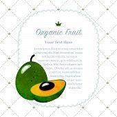 Colorful watercolor texture nature organic fruit memo frame pouteria lucuma egg fruit poster