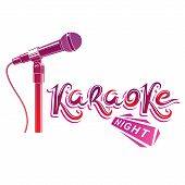 Nightlife entertainment concept karaoke night vector inscription composed with stage microphone illustration. Leisure and relaxation lifestyle presentation. poster