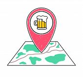 Textured red geotag icon with a pint of beer symbol pointing at a map.Bar irish pub tavern icon.Craft beer brewery sign. UImobile devicesmartphone appwebsite vector illustration.Weekend nightlife poster