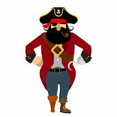 Pirate isolated. Eye patch and smoking pipe. filibuster cap. Bones and Skull. Head corsair black beard. buccaneer Wooden foot poster