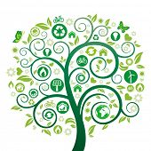 green tree illustration,environment icon poster