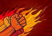 vector illustration of revolution fist poster
