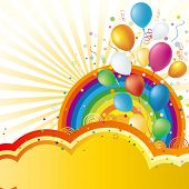 colorful balloon and rainbow,vector celebration background poster