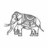vector sketch cartoon indian decorated oriental elephant. Isolated illustration on a white background. Traditional eastern festive animal with big tusks. Hand drawn sri-lanka , india symbols poster