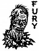 Fury zombie. Vector illustration. Black and white colors. Genre of horror. States of min poster