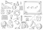 School supplies and study stationery sketch icons. Vector isolated set of math ruler, scissors or calculator on chalkboard, geography globe, physics magnet or microscope and chemistry school book poster