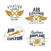 Airplane propeller and wings retro icons. Vector isolated symbols and badges of vintage aircraft airscrew for aviation legend or flight adventures and air customs or pilots sport team poster