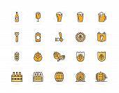 Set of vector beer and bar, pub colored line icons. Alcohol, bottle, mug, barley, hop, barrel, ale, froth, keg, beaker, jar and more. Editable Stroke. poster