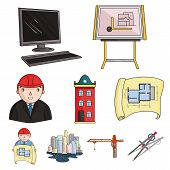 A set of icons on the theme of construction and architects. Builders, architects, and subjects for construction . Architect icon in set collection on cartoon style vector symbol stock web illustration. poster