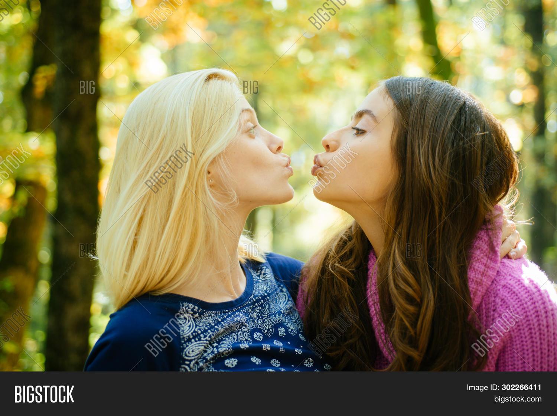 Blonde girls kissing
