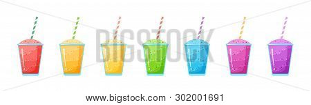 Natural Fruit Smoothie Rainbow Colection Vector Illustration. Sweet Protein Shake Or Vegeterian Juic