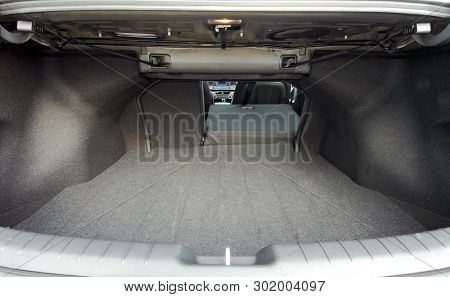 Car Trunk With Rear Seats Folded Of The Sedan