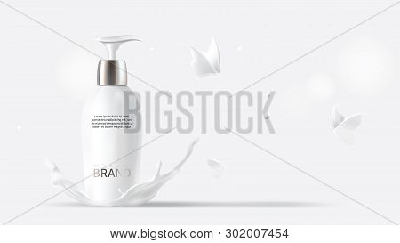 Milk Cosmetics Realistic Vector White Background. Skin Care Cosmetic Product, Body Lotion In White B
