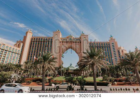 Dubai, Uae Panorama Of Atlantis Hotel On January 02, 2019 In Dubai, Uae. Atlantis The Palm Is A Luxu
