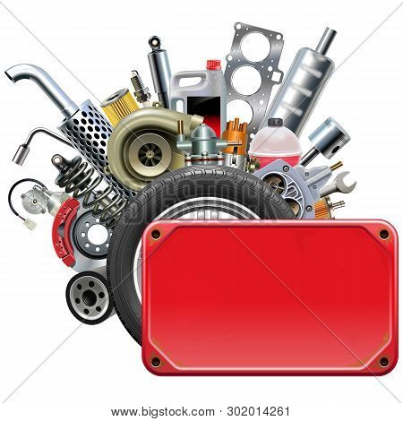 Vector Red Frame With Car Parts Isolated On White Background