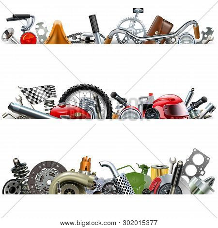 Vector Spare Parts Borders Isolated On White Background