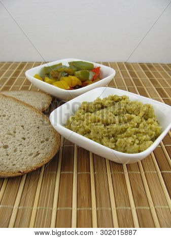 Homemade Olive Paste With Cooked Colorful Paprika And Bread