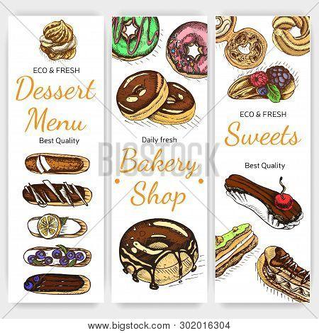Vector Illustration Sketch Bakery. Vintag Card Menu.